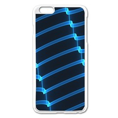 Background Neon Light Glow Blue Apple Iphone 6 Plus/6s Plus Enamel White Case