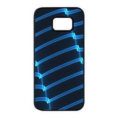 Background Neon Light Glow Blue Samsung Galaxy S7 Edge Black Seamless Case by Nexatart