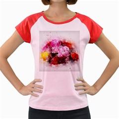 Flowers Roses Wedding Bouquet Art Women s Cap Sleeve T Shirt