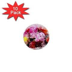 Flowers Roses Wedding Bouquet Art 1  Mini Buttons (10 Pack)