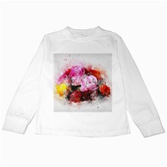 Flowers Roses Wedding Bouquet Art Kids Long Sleeve T Shirts