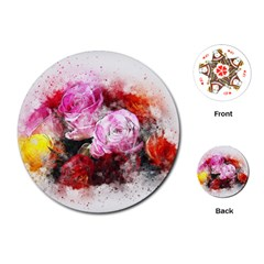Flowers Roses Wedding Bouquet Art Playing Cards (round)