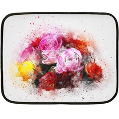 Flowers Roses Wedding Bouquet Art Double Sided Fleece Blanket (mini)