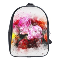 Flowers Roses Wedding Bouquet Art School Bag (large)