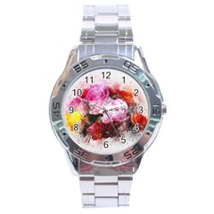 Flowers Roses Wedding Bouquet Art Stainless Steel Analogue Watch