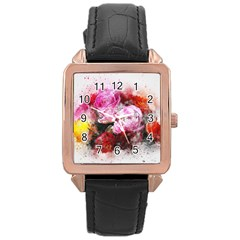 Flowers Roses Wedding Bouquet Art Rose Gold Leather Watch