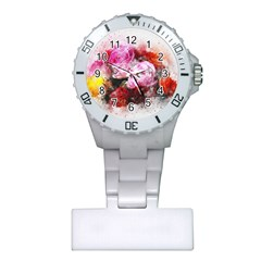 Flowers Roses Wedding Bouquet Art Plastic Nurses Watch