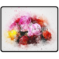 Flowers Roses Wedding Bouquet Art Double Sided Fleece Blanket (medium)