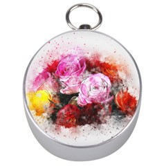 Flowers Roses Wedding Bouquet Art Silver Compasses