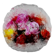 Flowers Roses Wedding Bouquet Art Large 18  Premium Flano Round Cushions