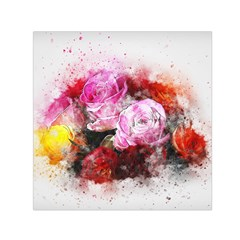 Flowers Roses Wedding Bouquet Art Small Satin Scarf (square)