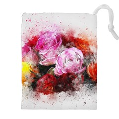 Flowers Roses Wedding Bouquet Art Drawstring Pouches (xxl)