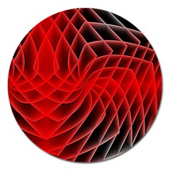 Abstract Red Art Background Digital Magnet 5  (round)