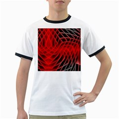Abstract Red Art Background Digital Ringer T Shirts