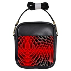 Abstract Red Art Background Digital Girls Sling Bags