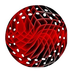 Abstract Red Art Background Digital Round Filigree Ornament (two Sides)