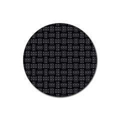 Background Weaving Black Metal Rubber Coaster (round)
