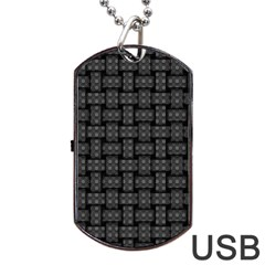 Background Weaving Black Metal Dog Tag Usb Flash (one Side)