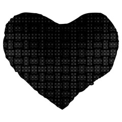 Background Weaving Black Metal Large 19  Premium Flano Heart Shape Cushions