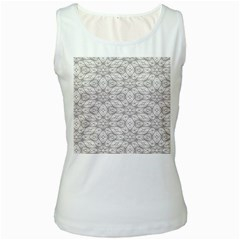 Background Wall Stone Carved White Women s White Tank Top