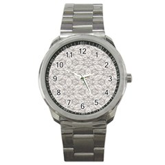 Background Wall Stone Carved White Sport Metal Watch