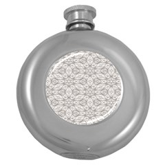 Background Wall Stone Carved White Round Hip Flask (5 Oz)