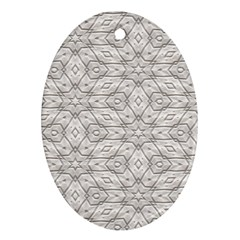 Background Wall Stone Carved White Oval Ornament (two Sides)
