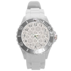 Background Wall Stone Carved White Round Plastic Sport Watch (l) by Nexatart