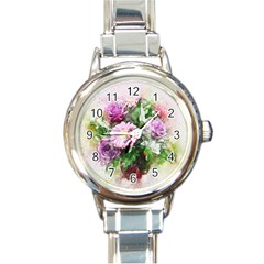 Flowers Roses Bouquet Art Nature Round Italian Charm Watch