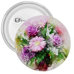 Flowers Roses Bouquet Art Nature 3  Buttons