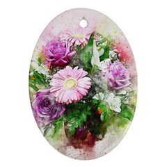 Flowers Roses Bouquet Art Nature Ornament (oval)