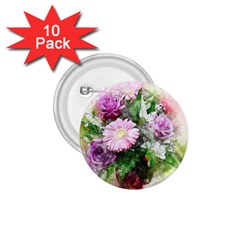 Flowers Roses Bouquet Art Nature 1 75  Buttons (10 Pack)