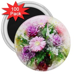 Flowers Roses Bouquet Art Nature 3  Magnets (100 Pack)