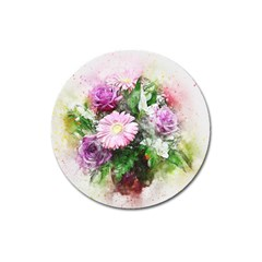 Flowers Roses Bouquet Art Nature Magnet 3  (round)