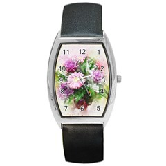 Flowers Roses Bouquet Art Nature Barrel Style Metal Watch