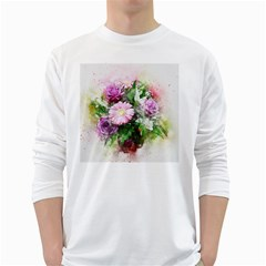 Flowers Roses Bouquet Art Nature White Long Sleeve T Shirts