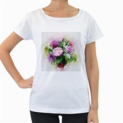 Flowers Roses Bouquet Art Nature Women s Loose Fit T Shirt (white)
