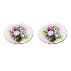 Flowers Roses Bouquet Art Nature Cufflinks (oval)