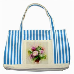 Flowers Roses Bouquet Art Nature Striped Blue Tote Bag