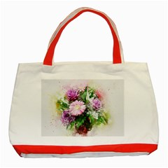 Flowers Roses Bouquet Art Nature Classic Tote Bag (red)