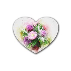 Flowers Roses Bouquet Art Nature Rubber Coaster (heart)