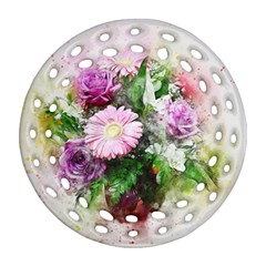 Flowers Roses Bouquet Art Nature Ornament (round Filigree)