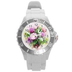 Flowers Roses Bouquet Art Nature Round Plastic Sport Watch (l)