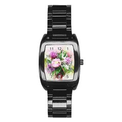 Flowers Roses Bouquet Art Nature Stainless Steel Barrel Watch