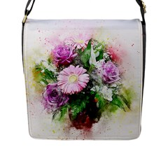 Flowers Roses Bouquet Art Nature Flap Messenger Bag (l)