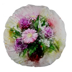 Flowers Roses Bouquet Art Nature Large 18  Premium Flano Round Cushions