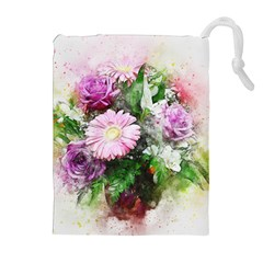 Flowers Roses Bouquet Art Nature Drawstring Pouches (extra Large) by Nexatart