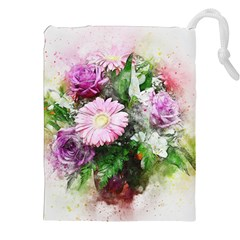 Flowers Roses Bouquet Art Nature Drawstring Pouches (xxl)
