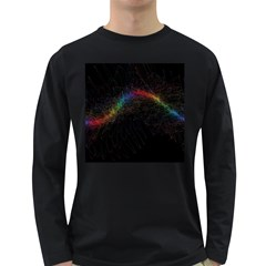 Background Light Glow Lines Colors Long Sleeve Dark T Shirts
