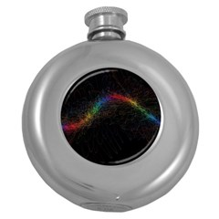 Background Light Glow Lines Colors Round Hip Flask (5 Oz)
